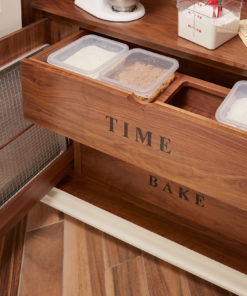 Custom canister drawer, Custom baking pan storage