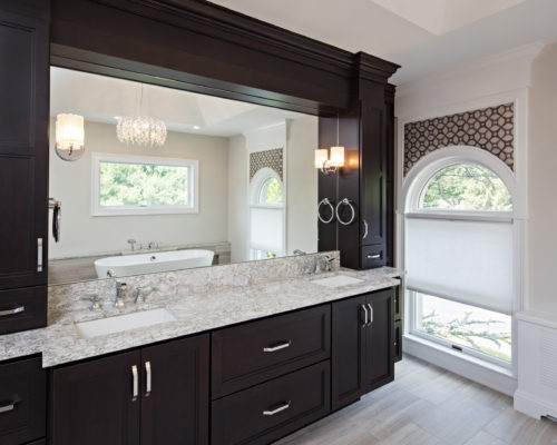 Cherry Bathroom Vanity With A Dark Finish