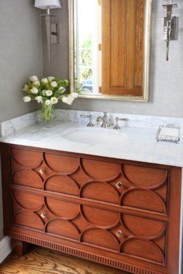 Decorative Bathroom Vanity in a Medium Brown Finish