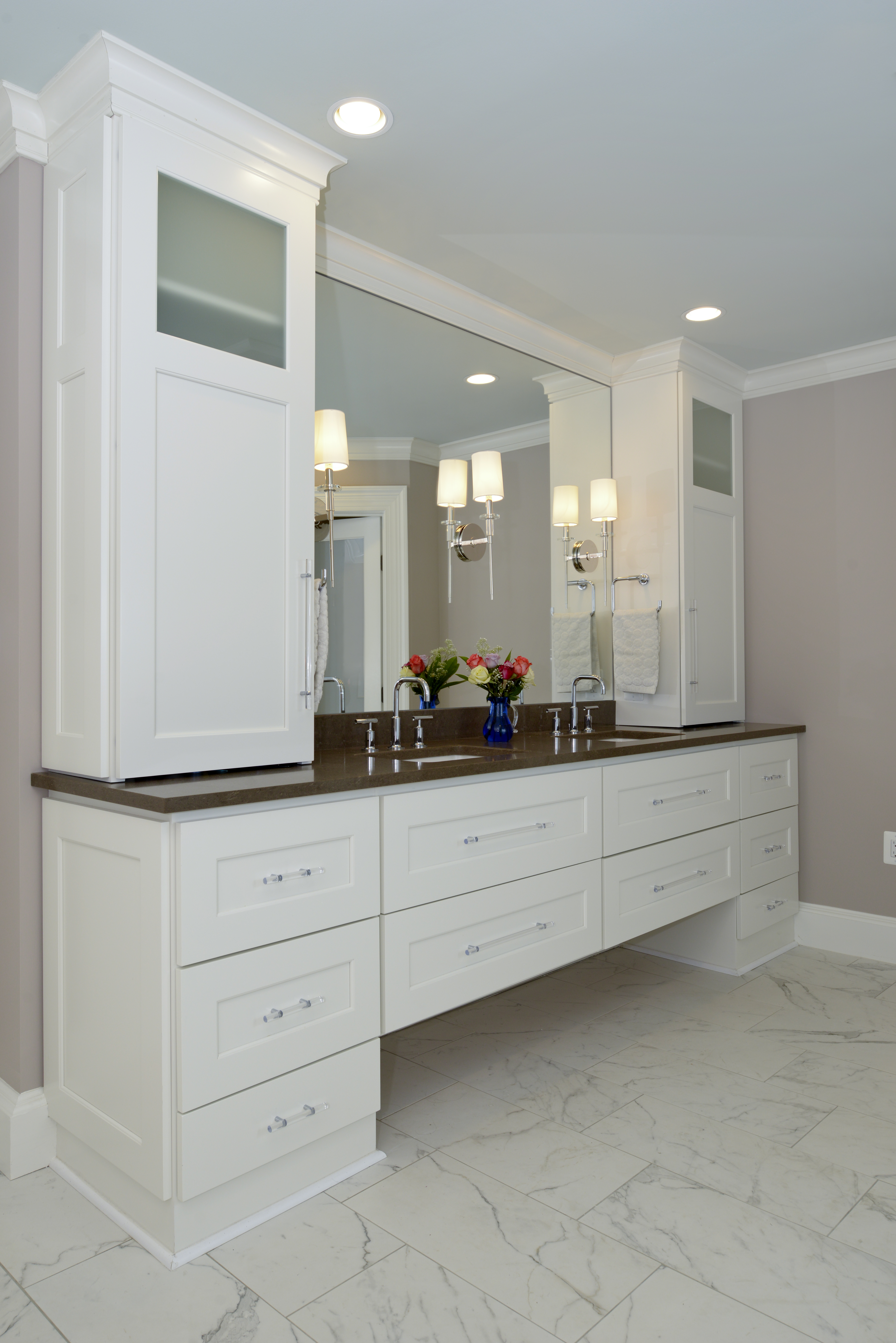 Frosty White Bathroom Cabinets