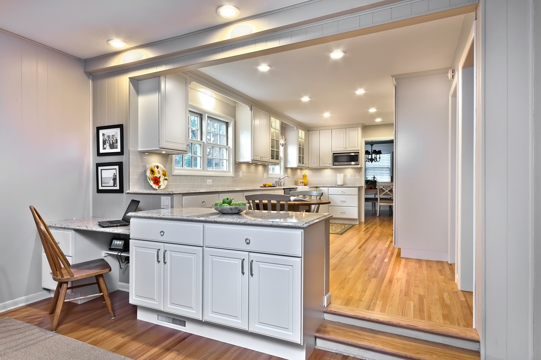Traditional Kitchen With Linen White Cabinets Crystal Cabinets
