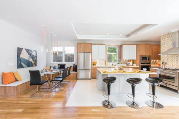 Contemporary Woodgrain Kitchen with a Touch of Grey