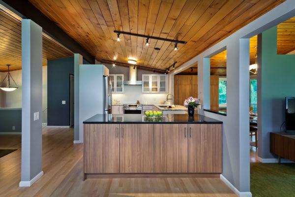 Matte White Kitchen with Arizona Cypress Storage Cabinets