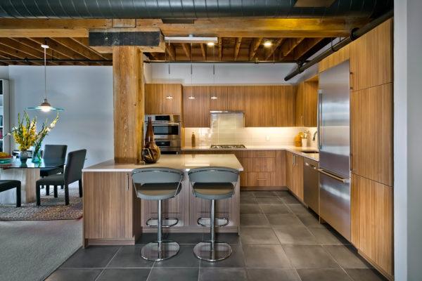 Contemporary Vertical Grain Kitchen Cabinets
