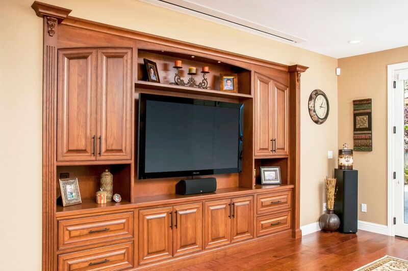 Entertainment Center Cabinetry with a Mid Brown Finish