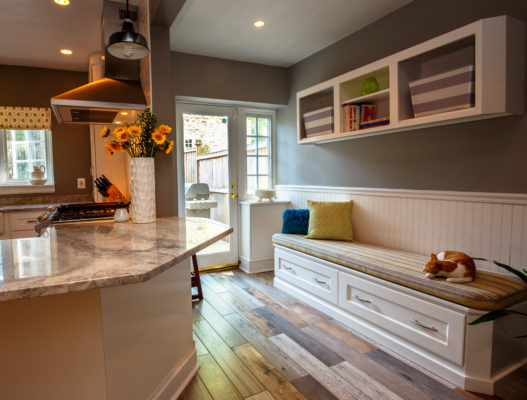 Designer White Bench Cabinet
