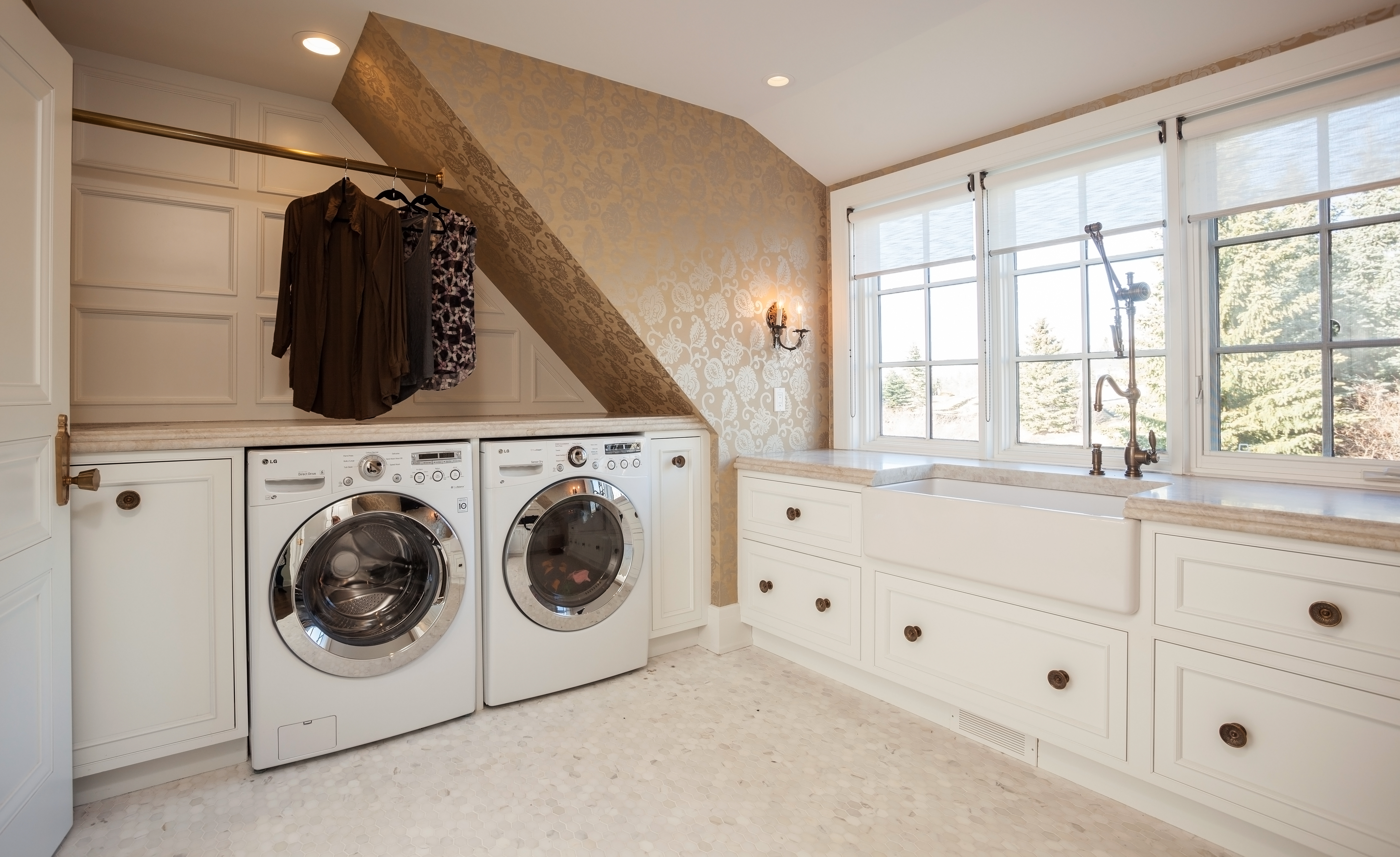 Cotton White Laundry Room Cabinets