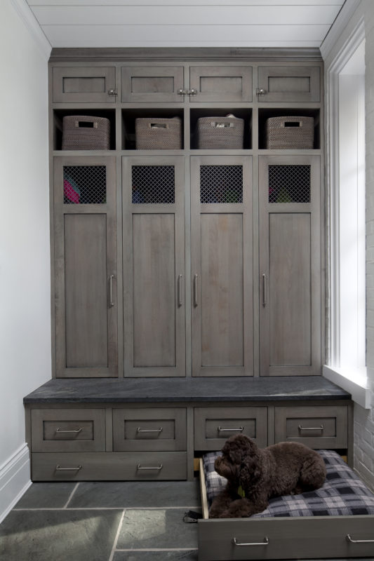 Medium Brown Mudroom with a Dog Bed Pullout