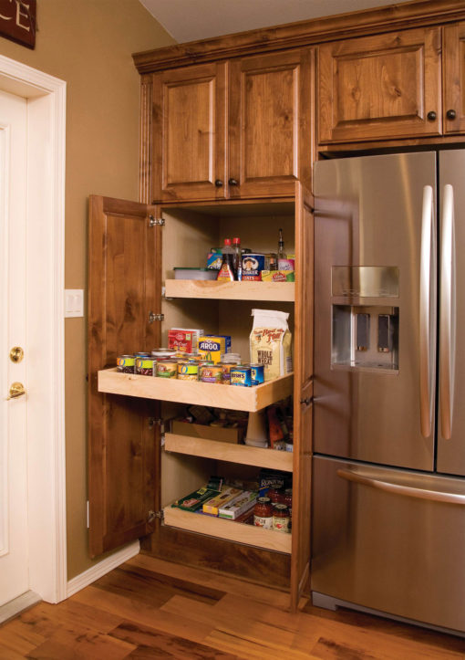 Broom Cabinet with Rollout Shelves