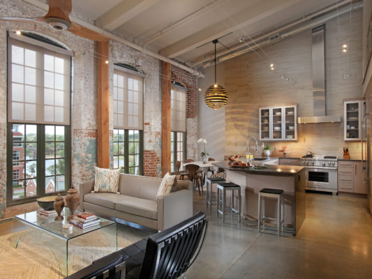 City Loft Kitchen with a Medium Wood