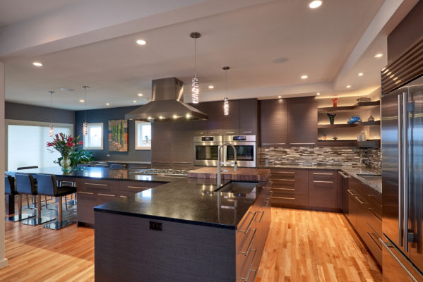 Contemporary Gray Oak Cabinets