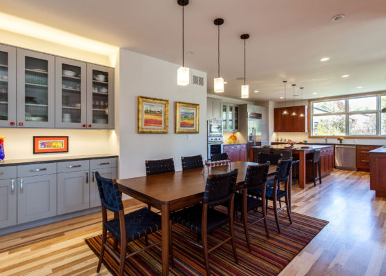 Contemporary Kitchen with Cherry and Grey Painted Cabinets