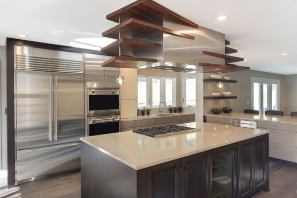 Custom Eclectic Cabinetry with Dark Tone Island