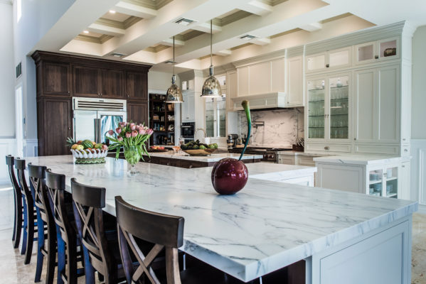 Large White Kitchen with Two Islands