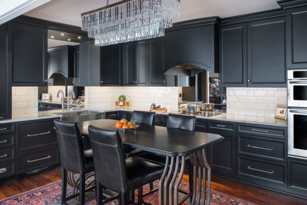 Painted Black Transitional Style Kitchen