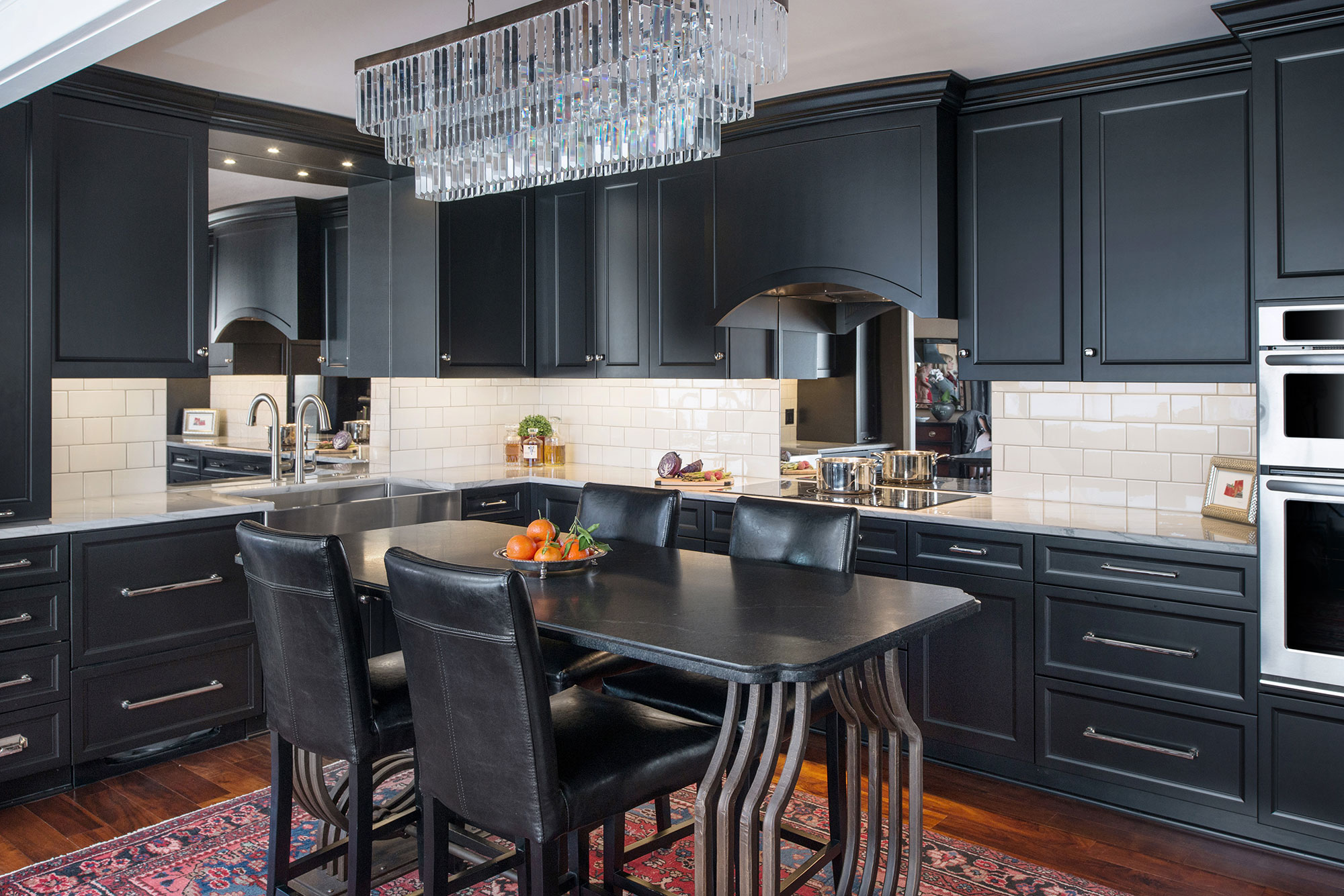 Painted Black Transitional Style Kitchen - Crystal Cabinets