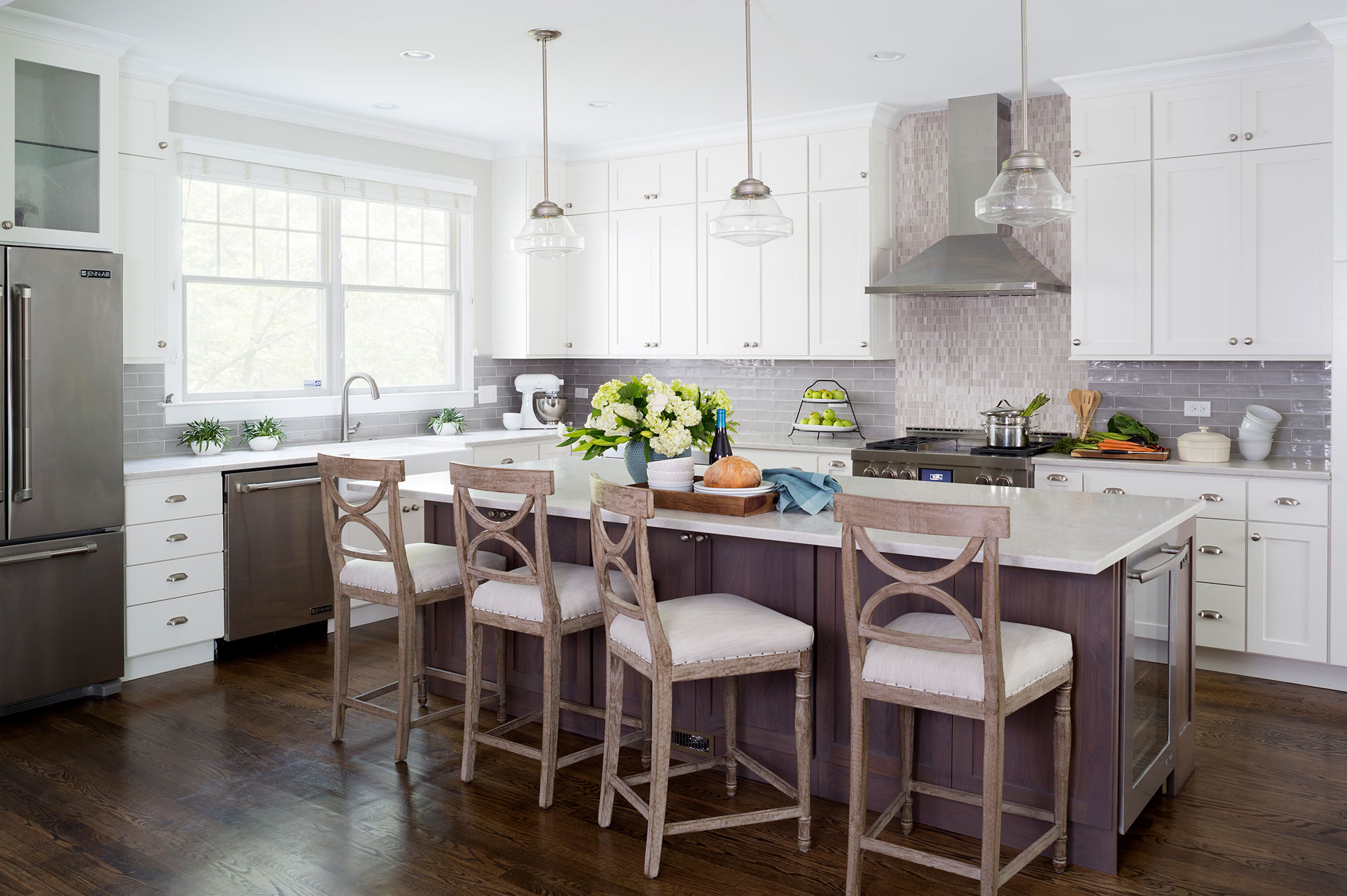 Image of: Painted White Kitchen With Dark Grey Stained Walnut Island Crystal Cabinets