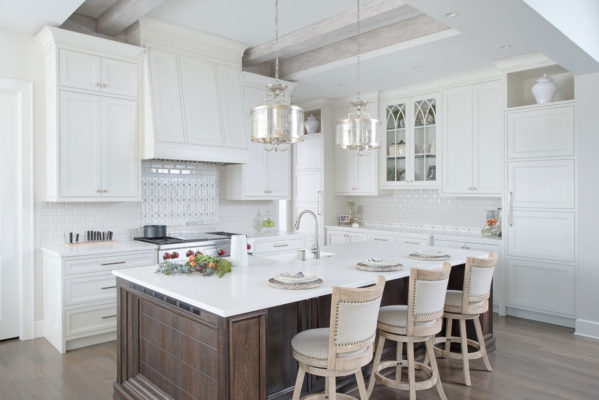 Painted White Kitchen with Dark Wood Island