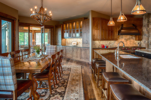 Rustic Kitchen with Painted Black Island