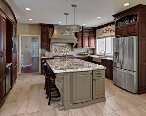 Traditional Cherry Cabinets with Medium Brown Painted Island