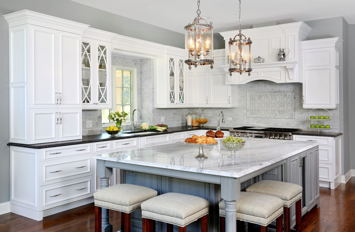Traditional Formal White and Grey Kitchen - Crystal Cabinets