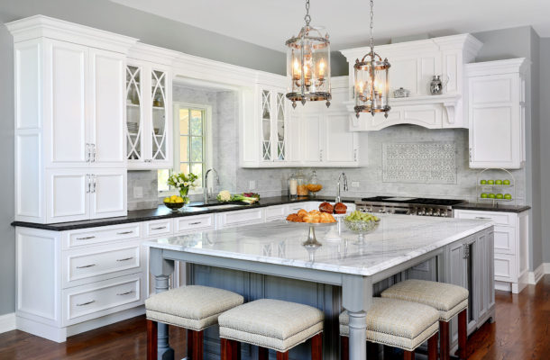 Traditional Formal White and Grey Kitchen
