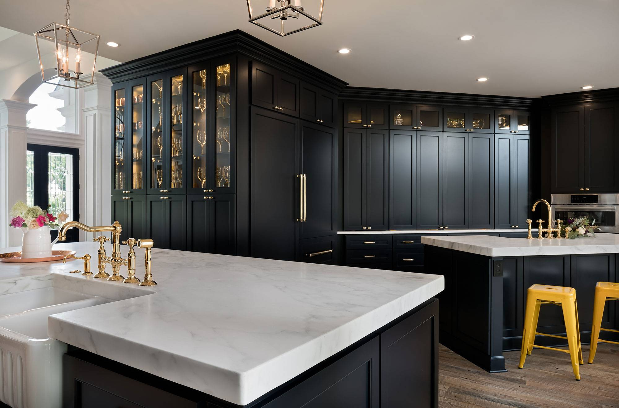 Transitional Dark Blue Painted Cabinets Crystal Cabinets