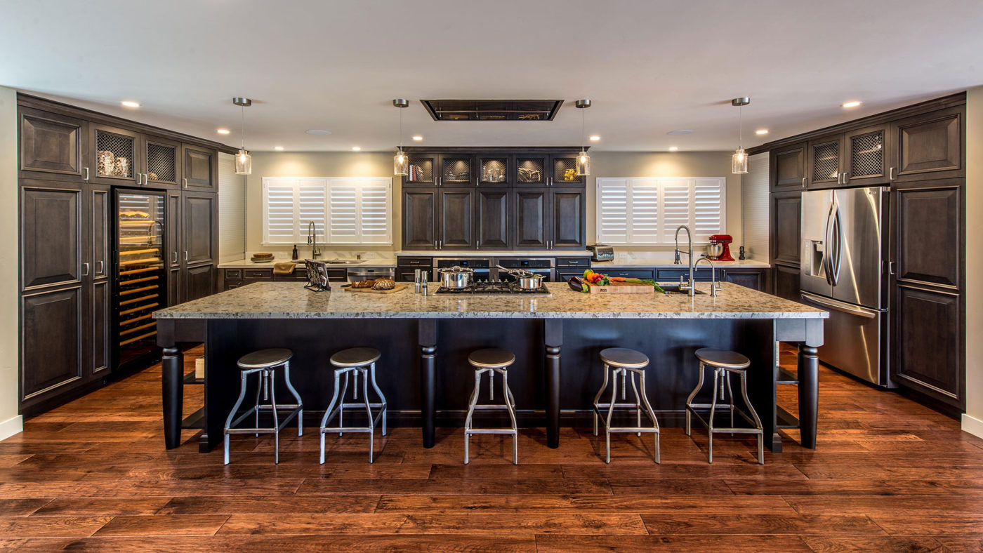Transitional Kitchen with Dark Stained Alder and Large Island