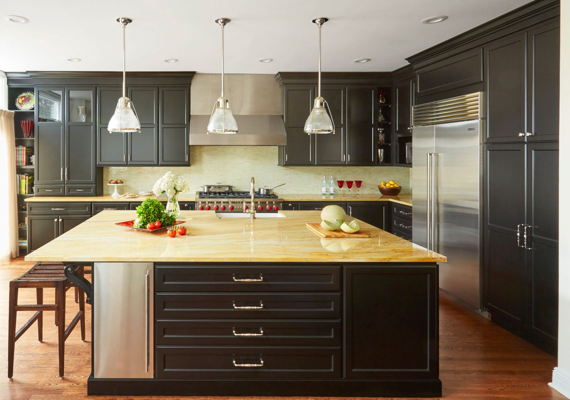 Transitional Painted Black Kitchen