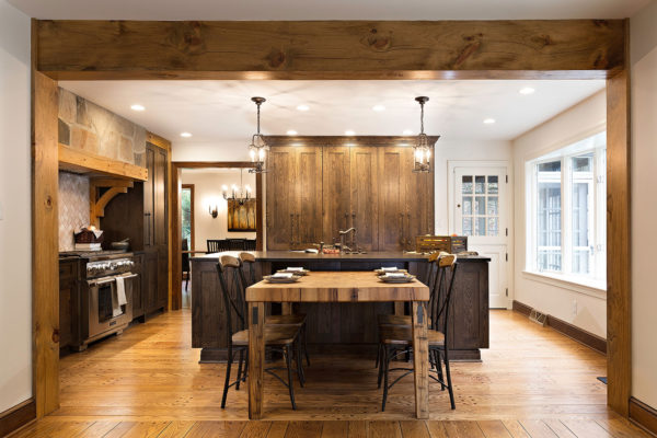 Transitional Rustic Oak Ranch Style Kitchen