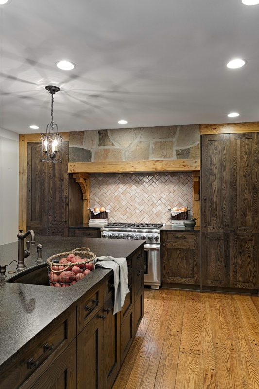 Transitional Rustic Oak Ranch Style Kitchen Crystal Cabinets