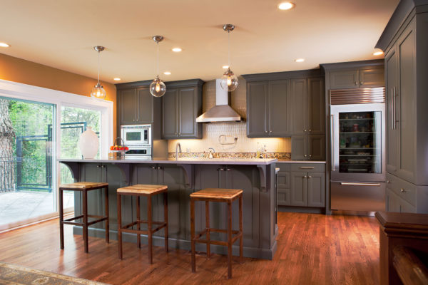 Transtional Custom Grey Painted Kitchen