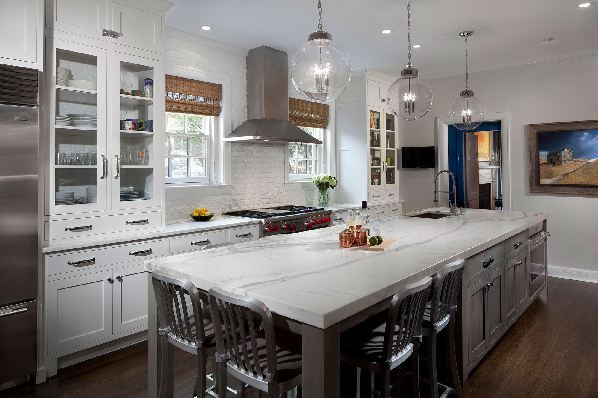Transitional White Kitchen With Grey Blue Stained Island Crystal Cabinets