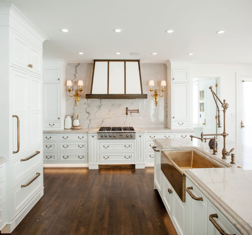White Inset Kitchen With Gold Brass Accents Crystal Cabinets
