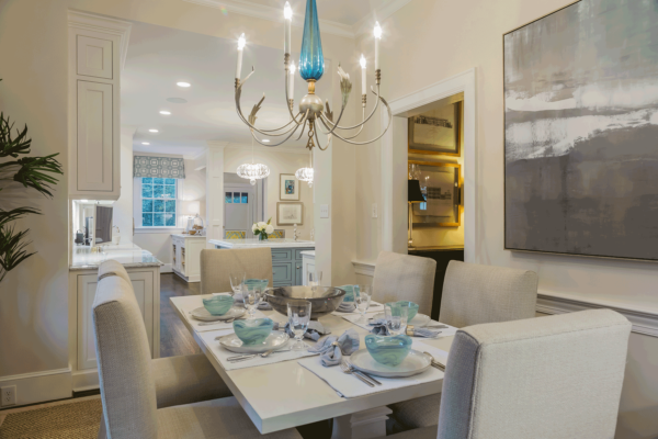White Kitchen with Light Blue Painted Island