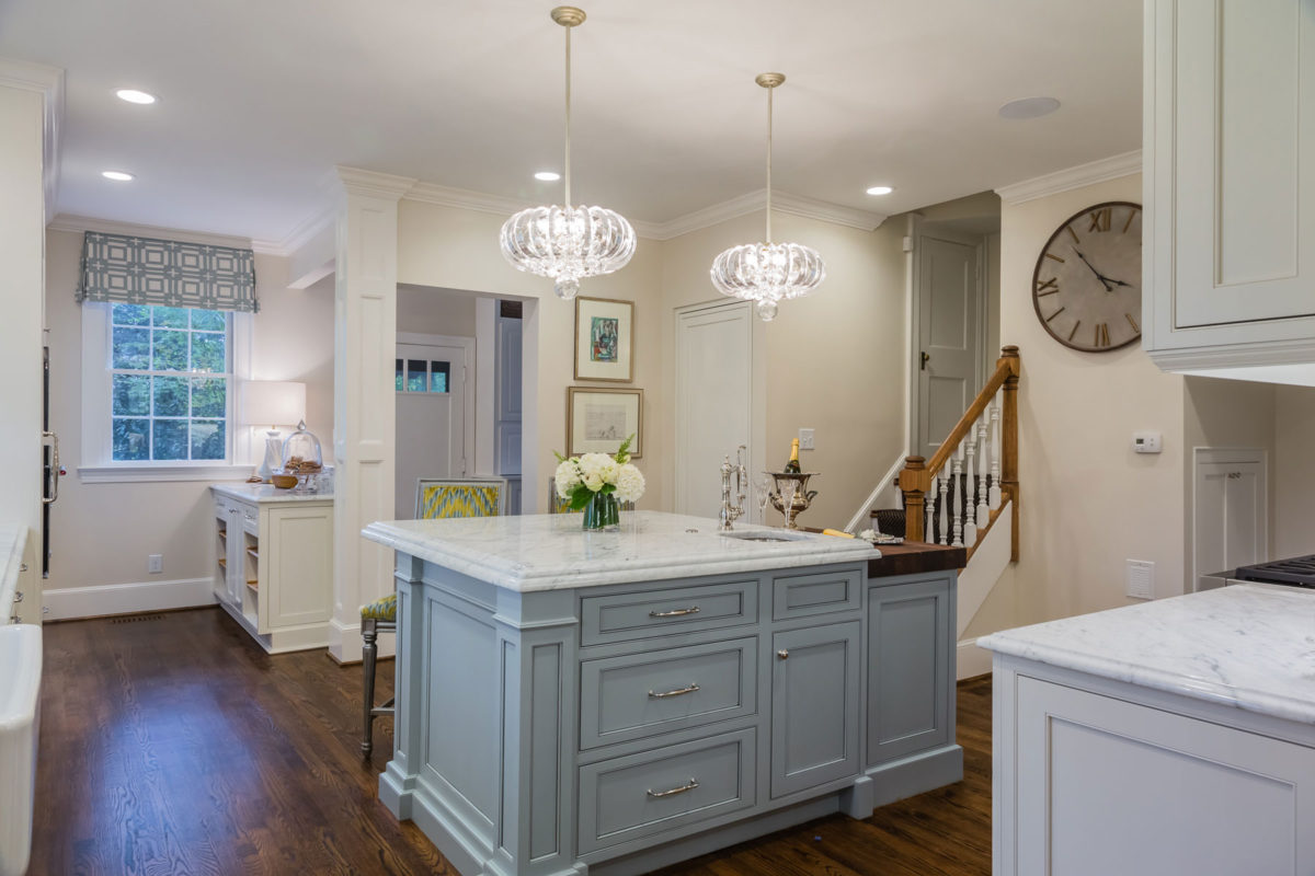 White Kitchen with Light Blue Painted Island - Crystal ...