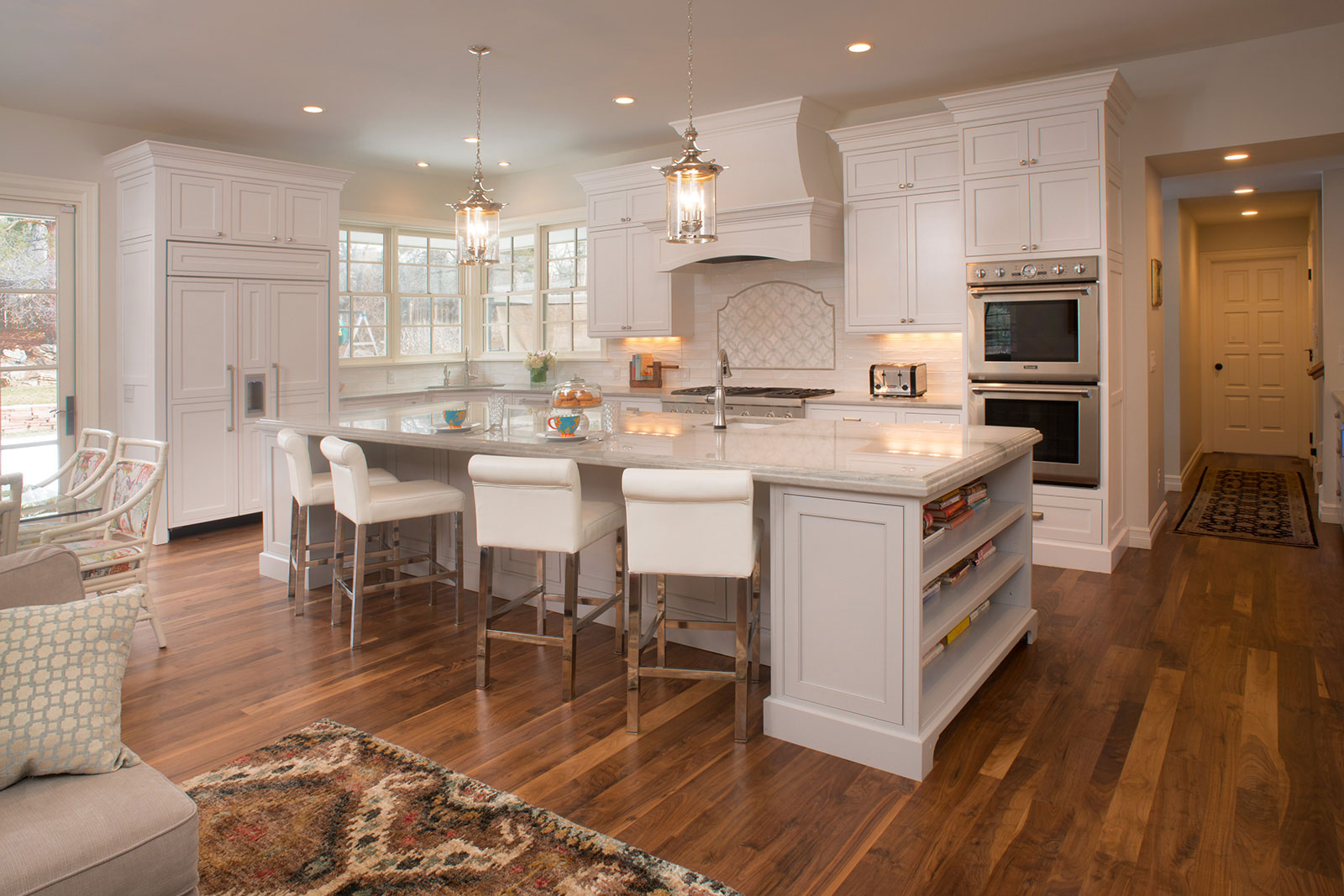 White Kitchen with Light Grey Island - Crystal Cabinets