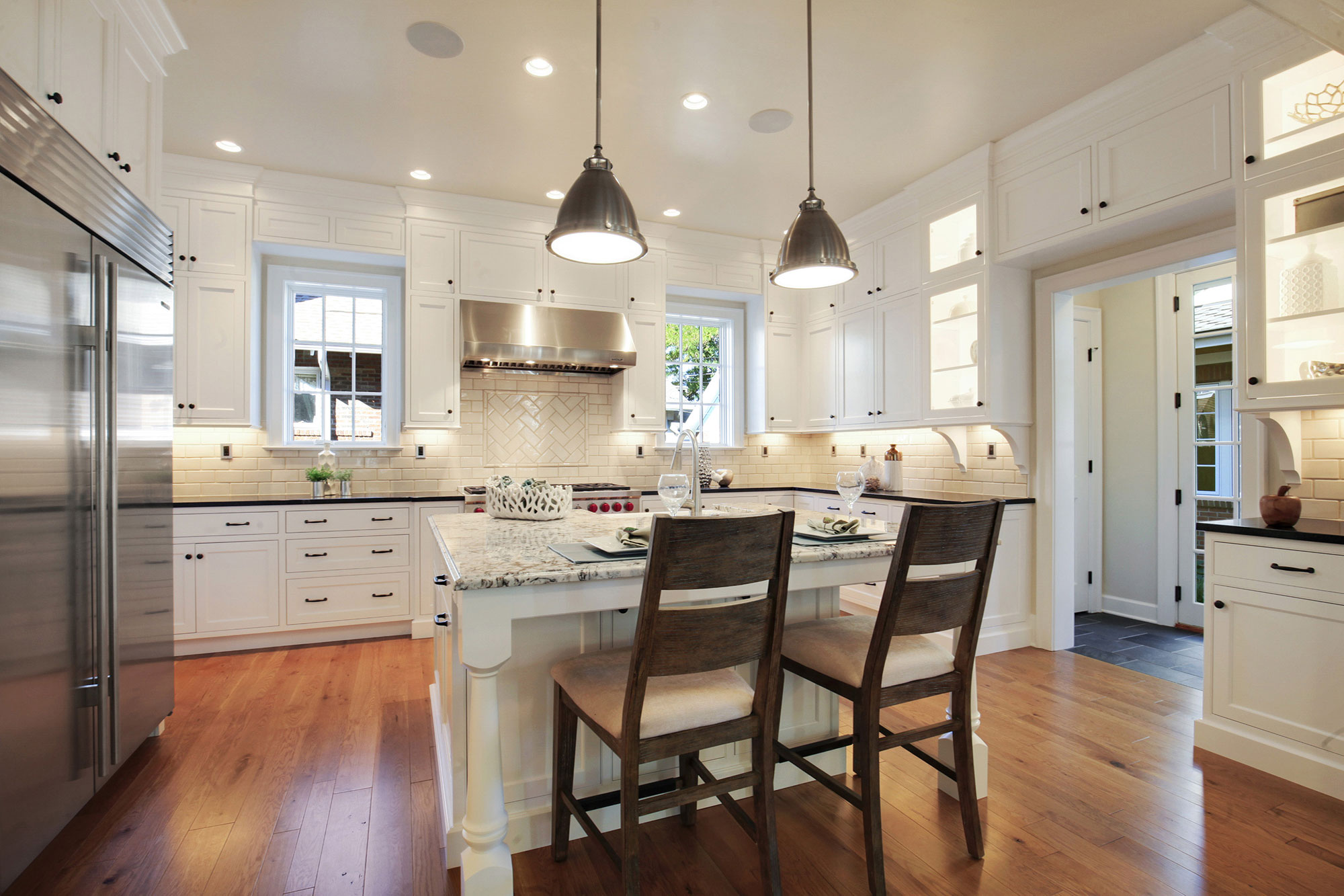 White Shaker Style Farmhouse Kitchen - Crystal Cabinets on Kitchen  id=68846