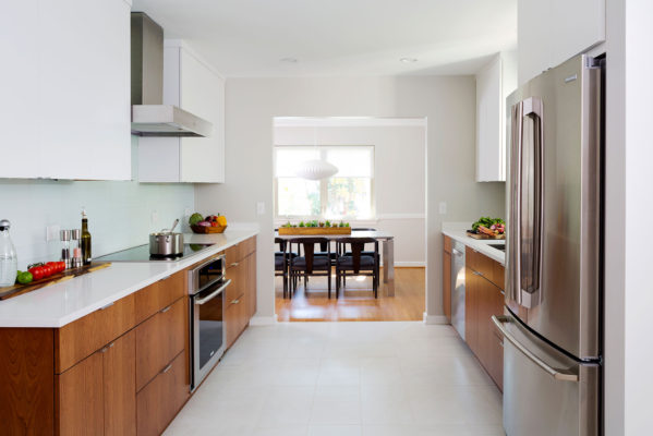 White and Cherry Wood Contemporary Kitchen