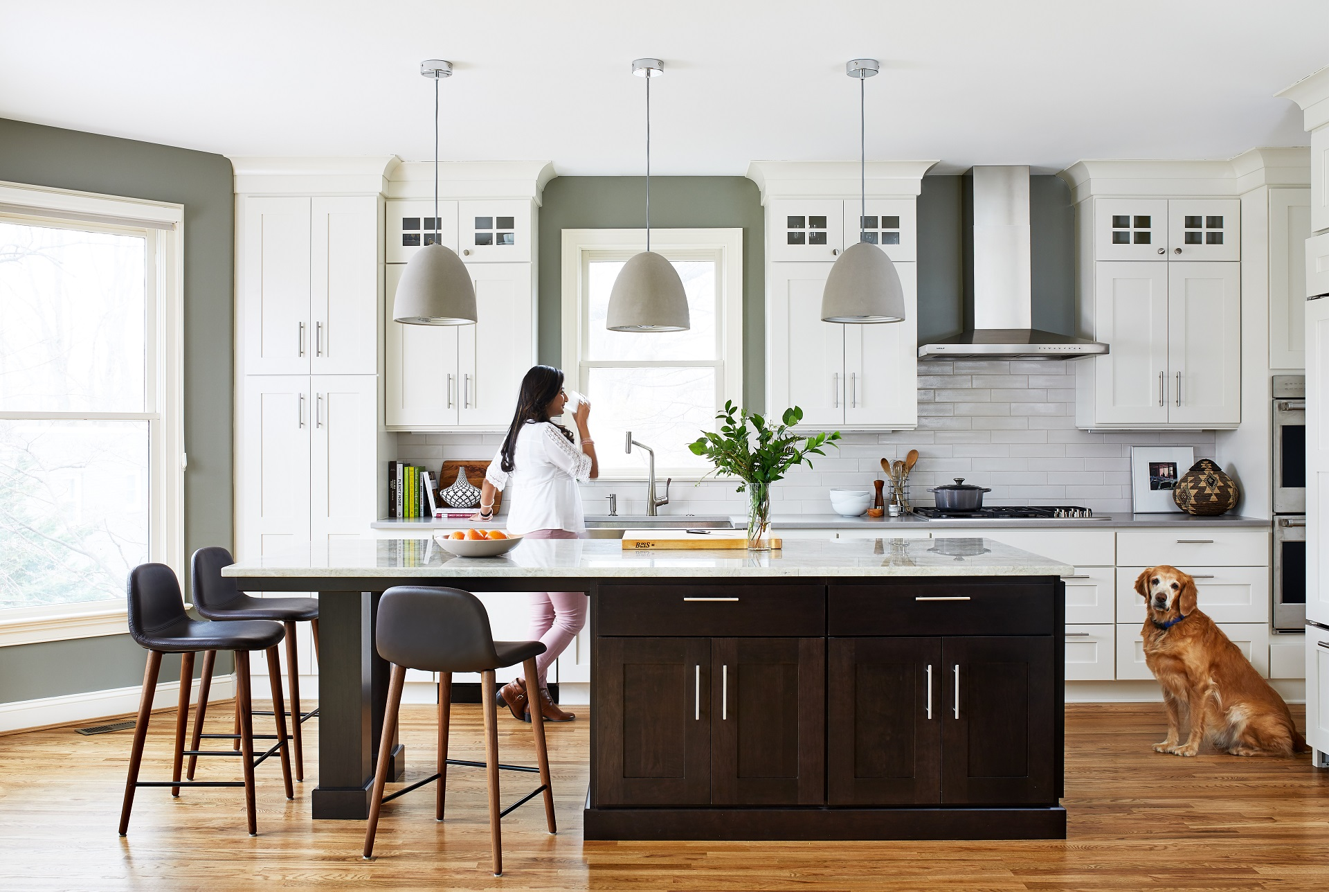 White Kitchen with Dark Stained Island - Crystal Cabinets