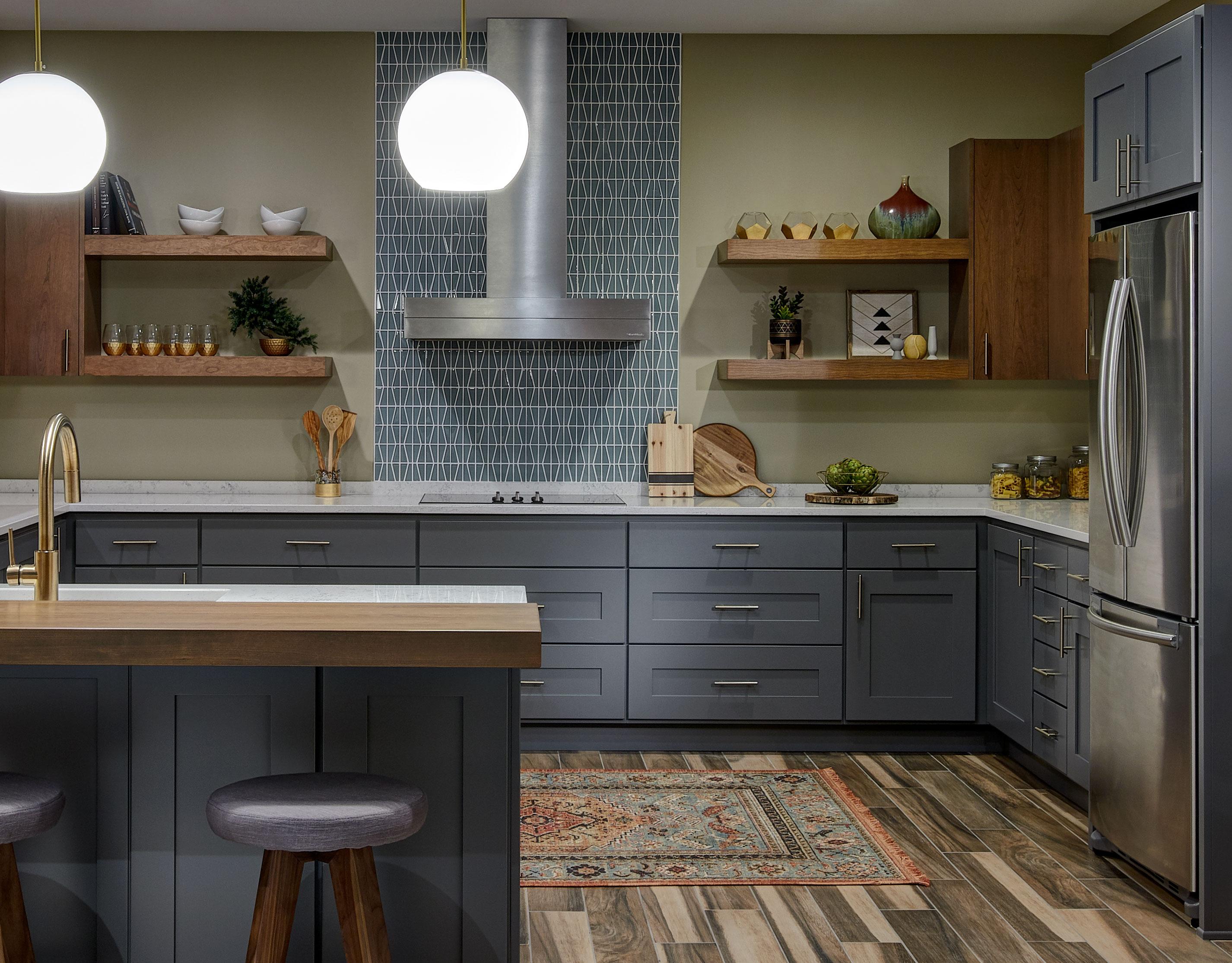 Mid Century Modern Kitchen Crystal Cabinets