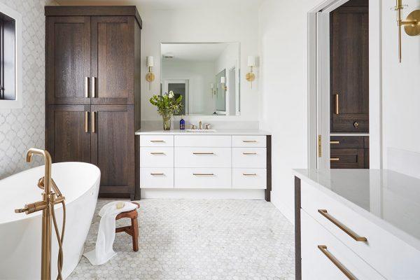 Tranquil Brown & White Master Bath