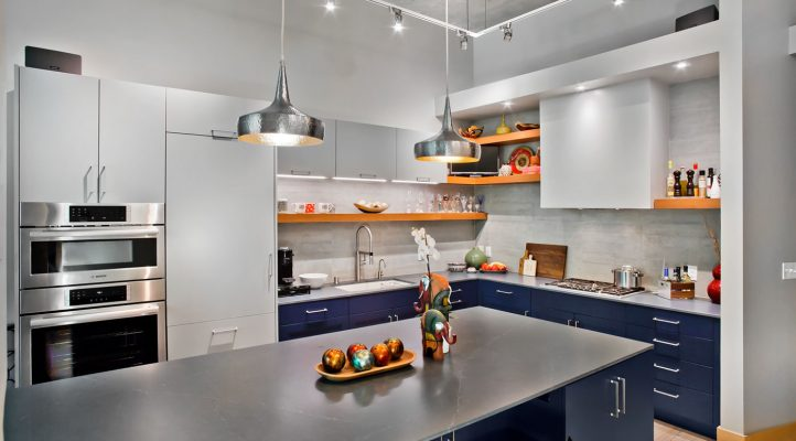 Blue & Grey Contemporary Kitchen