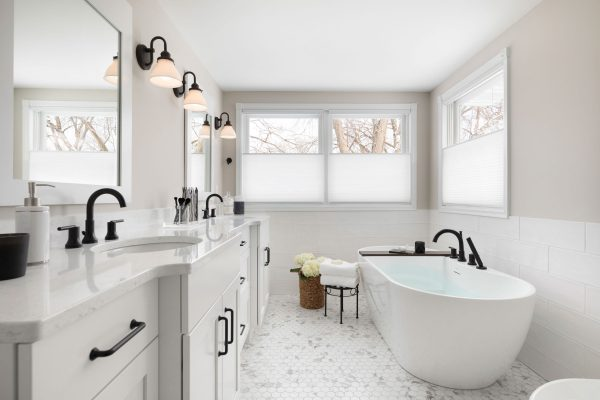 Spacious White Master Bathroom
