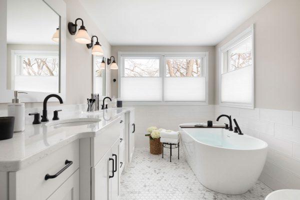 Spacious White Master Bathroom