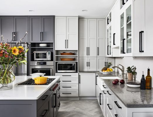 White & Grey Blend Transitional Kitchen