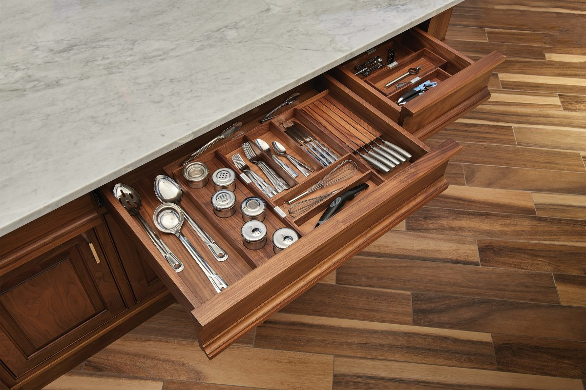 Walnut Drawer With Matching Organizer Crystal Cabinets